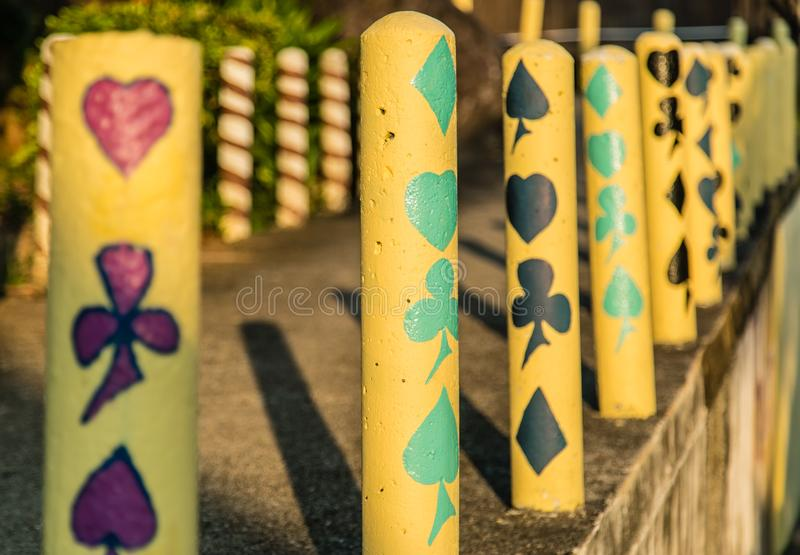 Beautiful bright colorful mountain road barrier pole royalty free stock photography