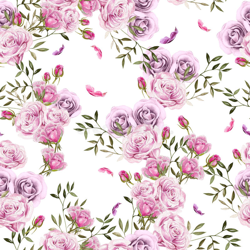 Beautiful Bright Colorful Watercolor Pattern With Rose Flowers. vector illustration