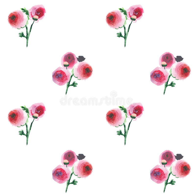 Beautiful bright cute elegant tender gentle lovely floral colorful wildflowers pink and red roses with buds and leaves bouquets vector illustration