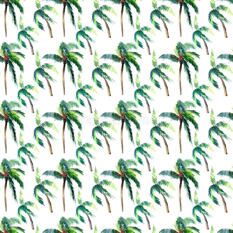 Beautiful bright cute green tropical lovely wonderful hawaii floral herbal summer pattern of a palm trees watercolor hand sketch. Perfect for greetings card stock illustration