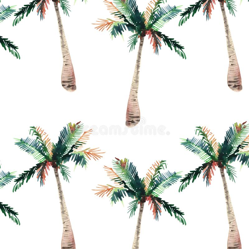 Beautiful bright cute green tropical lovely wonderful hawaii floral herbal summer pattern of a palm trees watercolor hand sketch. Perfect for greetings card royalty free illustration