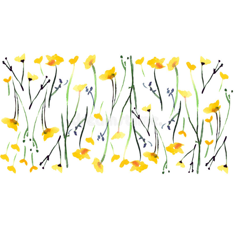 Free Beautiful Bright Cute Lovely Tender Elegant Gentle Delicate Bright Floral Spring Yellow Wildflowers With Buds And Leaves Pattern Stock Images - 90860954