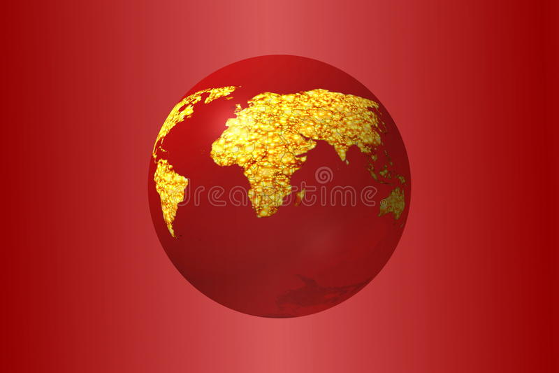 beautiful bright 3D illustration earth globe in red background royalty free illustration