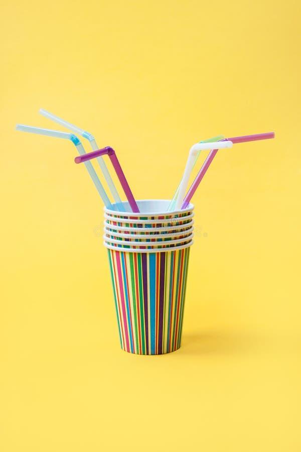 beautiful bright disposable tableware. stock photos