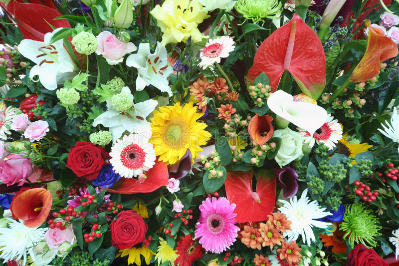 Beautiful bright flowers in large bouquet stock photo