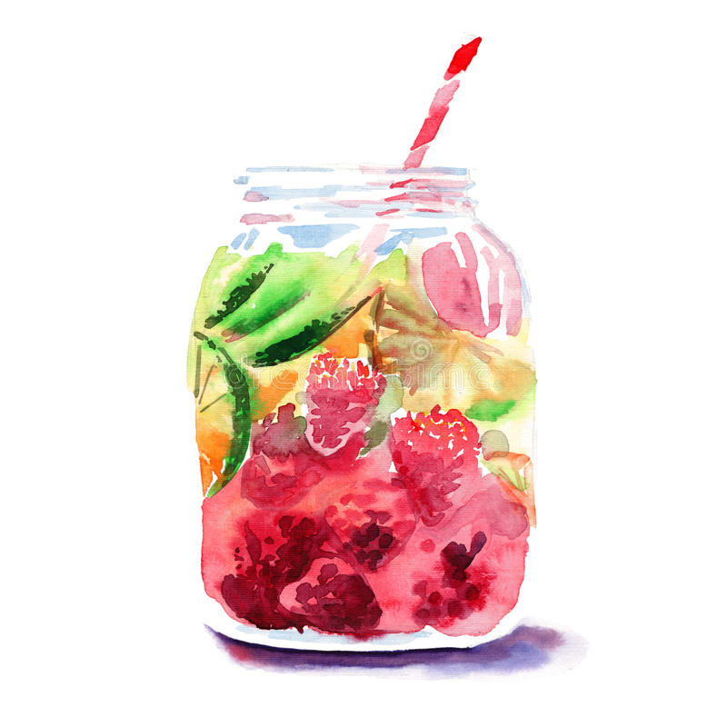 Beautiful bright fresh tasty juicy delicious lovely cute colorful detox bank with red mulberries, ripe green limes and oranges and vector illustration