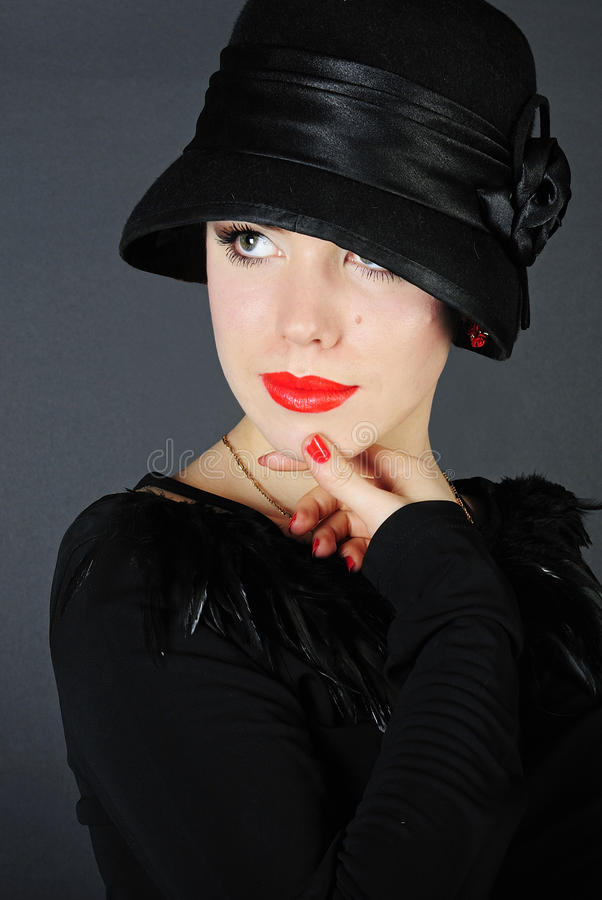 Download Beautiful Bright Girl In Black Hat Stock Image - Image of clean, background: 23150217