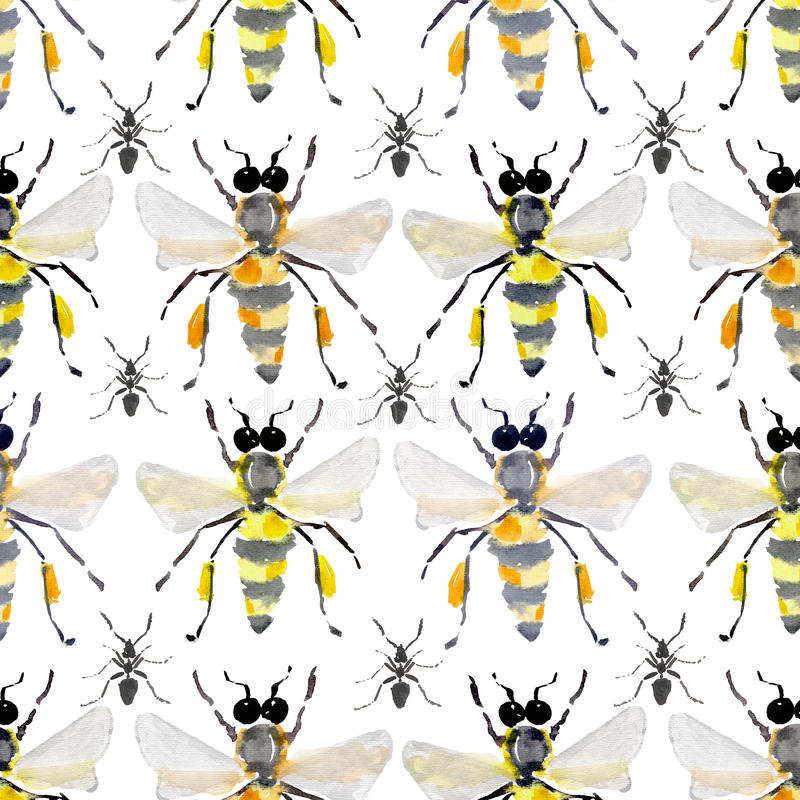 Beautiful bright graphic abstract cute lovely artistic vintage summer colorful vertical pattern of honey bees and black ants water vector illustration