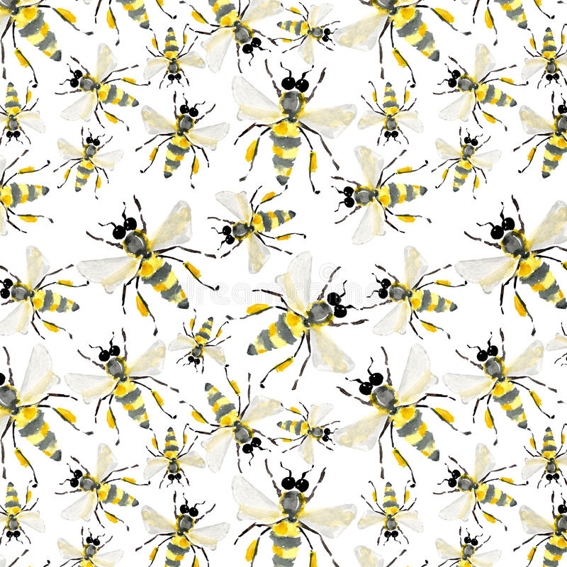 Beautiful bright graphic abstract cute lovely summer colorful pattern of honey bees stock illustration