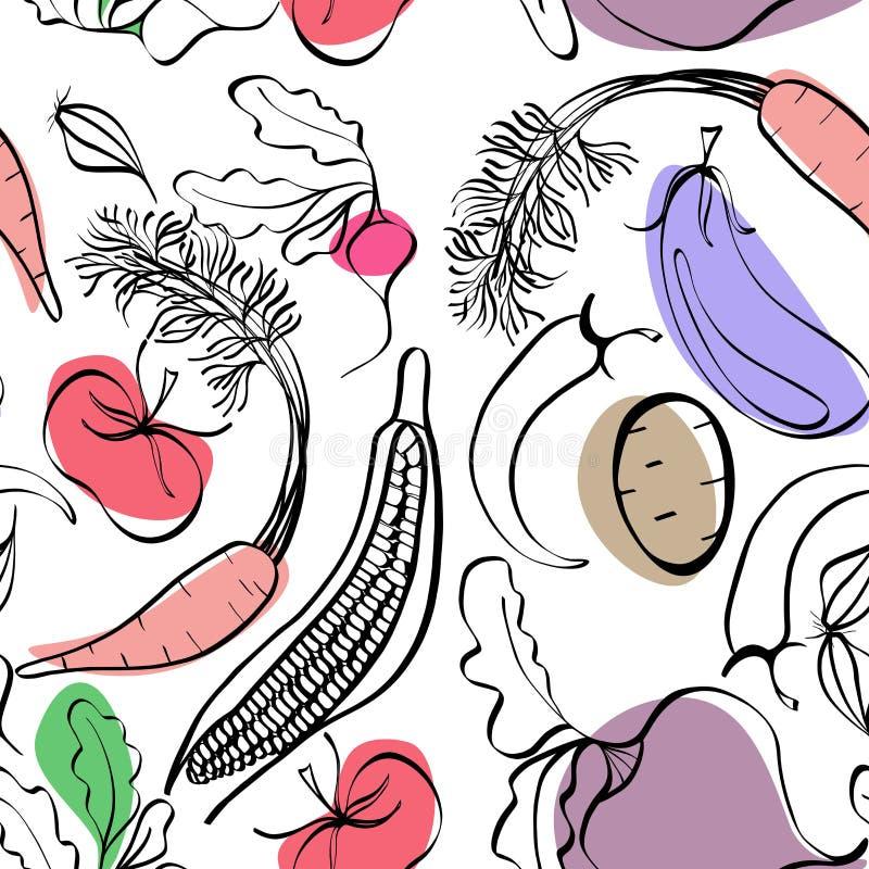 Beautiful bright graphic Scandinavian pattern of organic vegetables: potato, tomato, beetroot, shallot, eggplant, corn, carrot. Vector hand illustration stock illustration