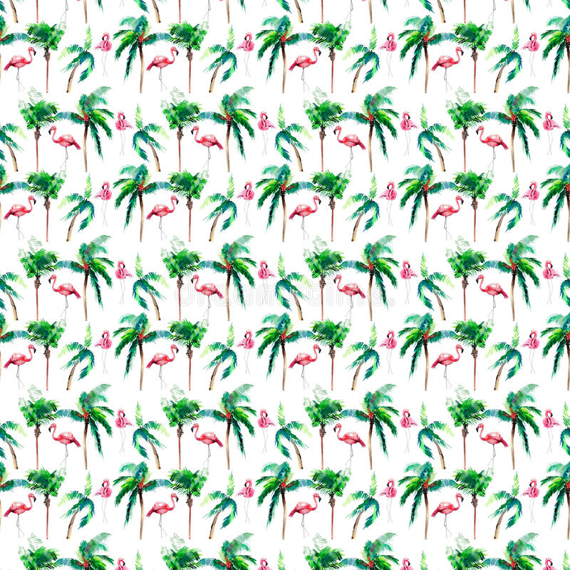 Beautiful bright green hawaii floral summer pattern of a tropical green palm trees and tender pink flamingo watercolor hand sketch. Perfect for greetings card vector illustration