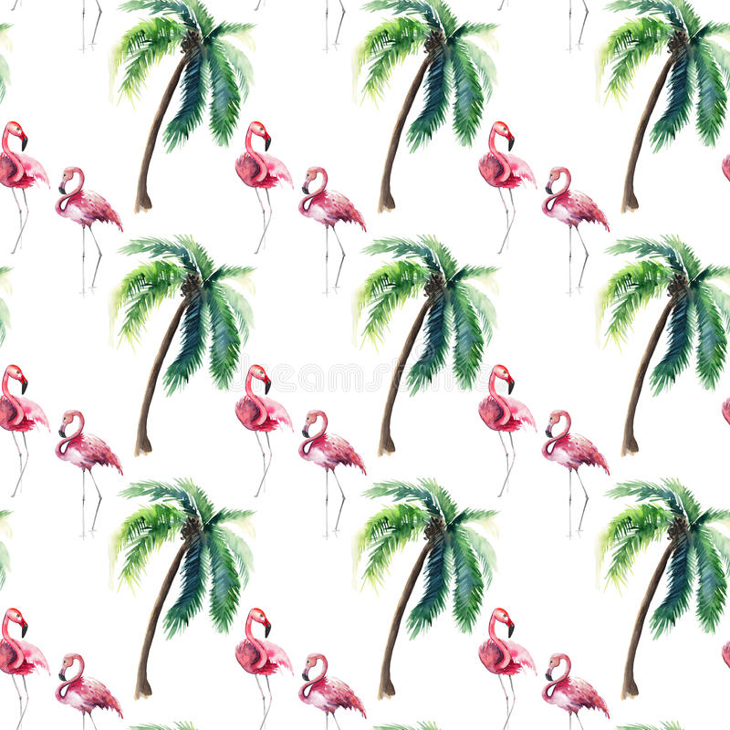 Beautiful bright green hawaii floral summer pattern of a tropical green palm trees and tender pink flamingo watercolor hand sketch. Perfect for greetings card royalty free illustration
