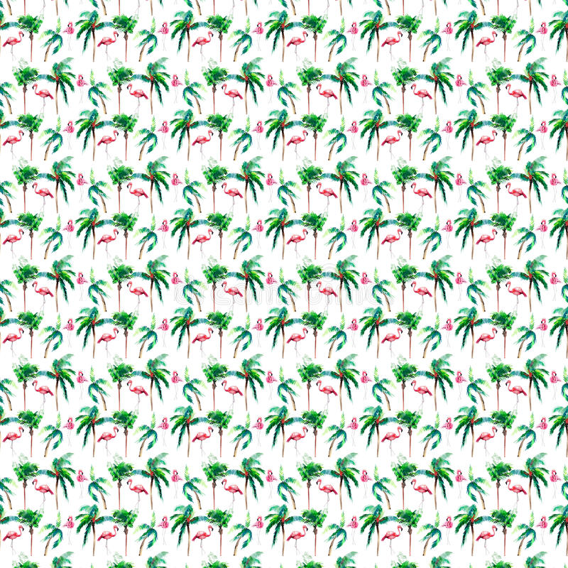 Beautiful bright green lovely wonderful hawaii floral summer pattern of a tropical green palm trees and tender pink flamingoes wat. Ercolor hand sketch. Perfect royalty free illustration