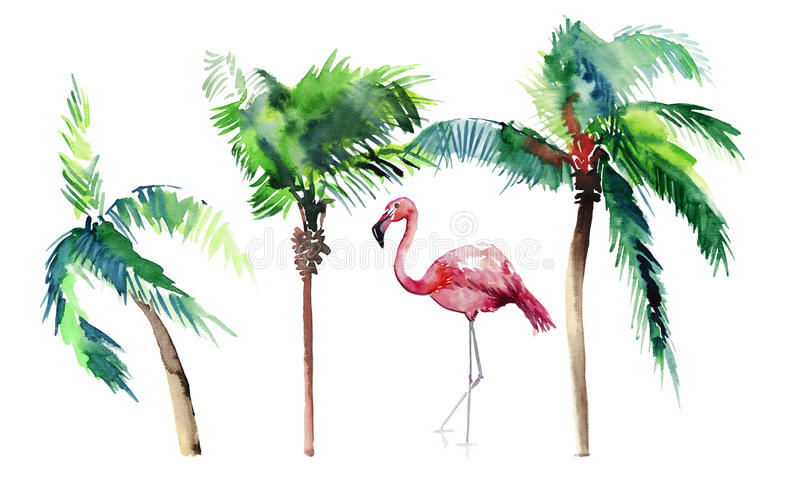 Beautiful bright green lovely wonderful hawaii floral summer pattern of a tropical green palm trees and tender pink flamingoes wat. Ercolor hand sketch. Perfect stock illustration