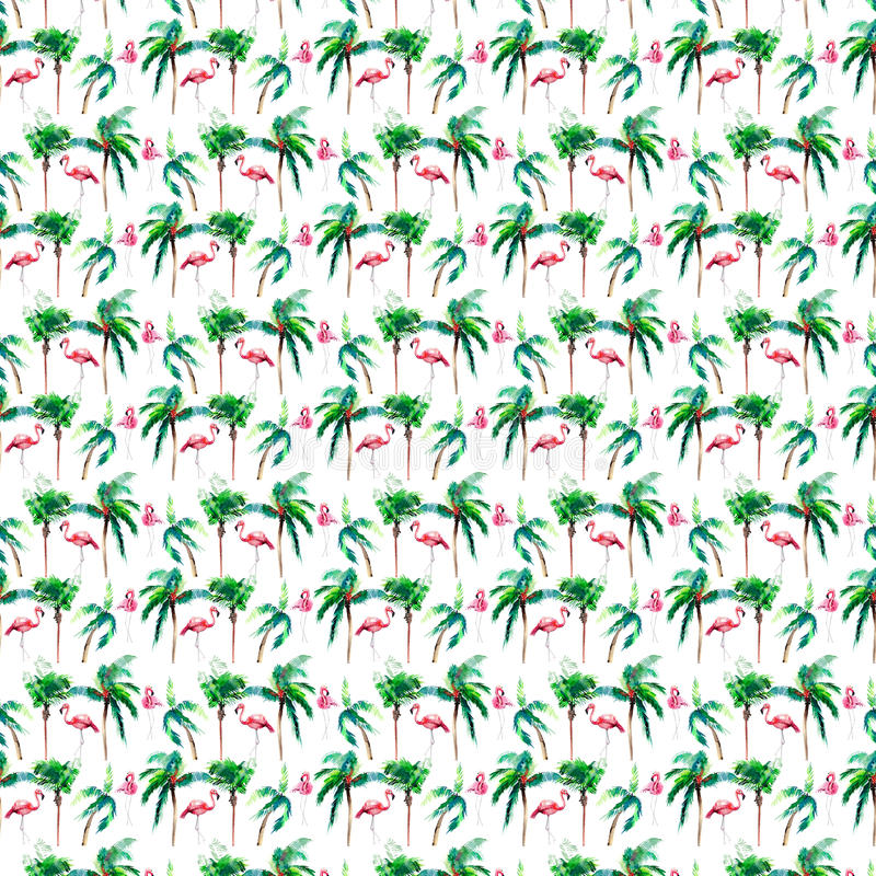Beautiful bright green lovely wonderful hawaii floral summer pattern of a tropical palm trees and pink flamingo. Watercolor hand sketch. Perfect for greetings stock illustration