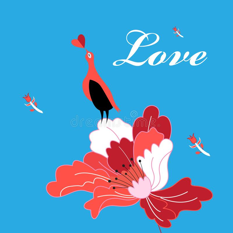 Beautiful bright greeting card with bird in love on a flower stock illustration