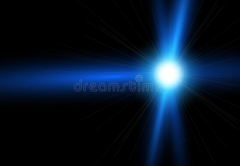 Beautiful bright lens flares. Lighting effects of flash. Star with lens flare and bokeh effect royalty free illustration