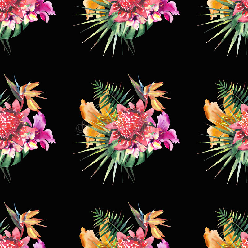 Beautiful bright lovely colorful tropical hawaii floral herbal summer pattern of tropical flowers hibiscus orchids and palms leave stock illustration