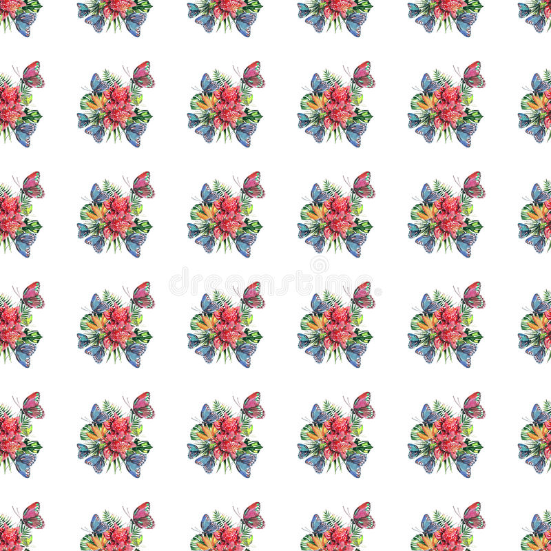 Beautiful bright lovely colorful tropical hawaii floral herbal summer pattern of tropical flowers and red pink green yellow blue p royalty free illustration