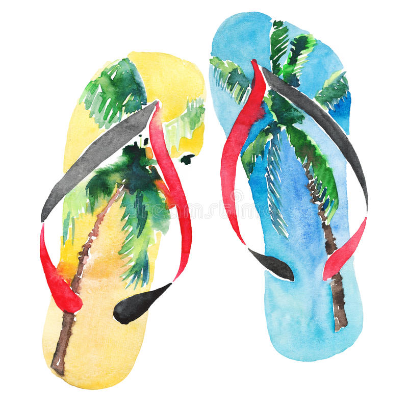 Beautiful bright lovely comfort summer pattern of beach blue yellow flip flops with tropical palm design watercolor hand illustrat. Ion stock illustration