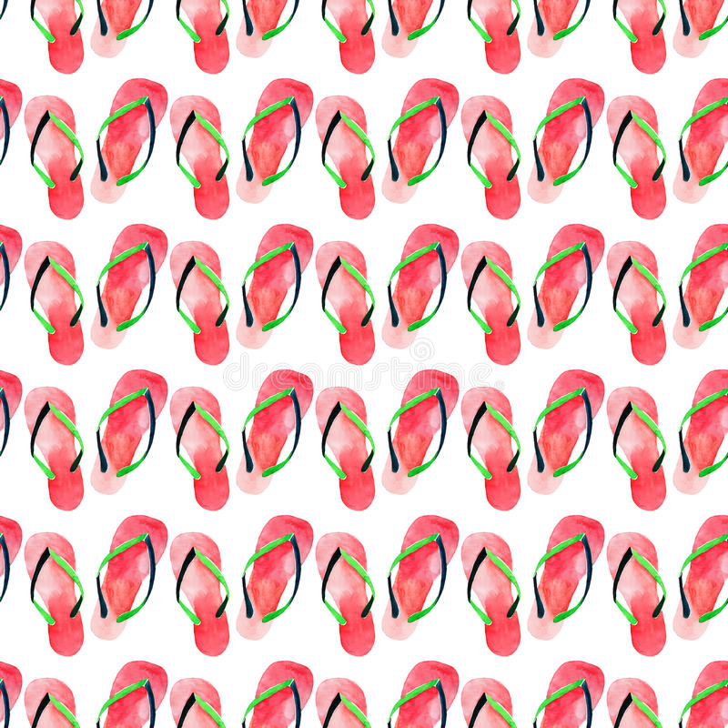 Beautiful bright lovely cute comfort summer pattern of beach red green flip flops watercolor hand illustration. Perfect for greetings card, textile, wallpapers stock illustration