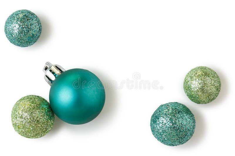 Beautiful, bright, modern Christmas holiday ornaments decorations in contemporary colors isolated on white background. Beautiful, bright, modern Christmas stock photos