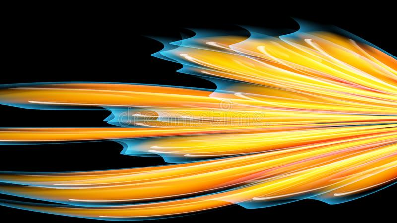 Beautiful bright motley yellow orange abstract energetic magical cosmic fiery neon texture of lines and stripes, waves, flames stock illustration