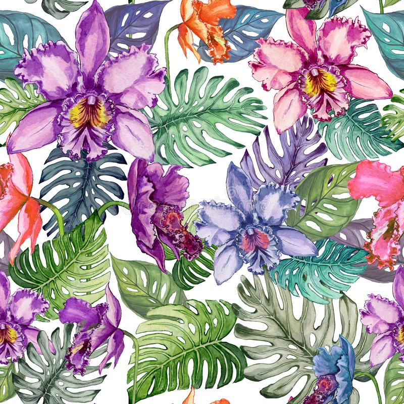Beautiful bright orchid flowers and monstera leaves on white background. Seamless tropical floral pattern. Watercolor painting. vector illustration
