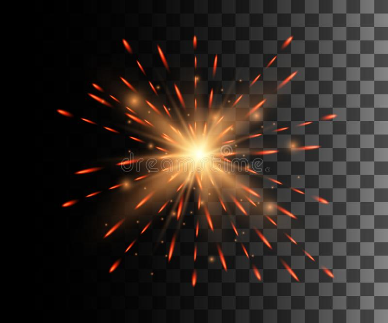 Beautiful bright red firework decoration firework for Christmas New Year celebration holiday festival birthday isolated on the tra stock illustration