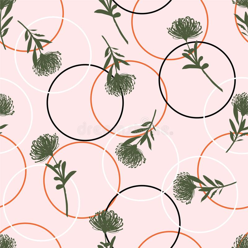 Beautiful and bright summer Silhouette Abstract seamless pattern with line circle and flowers Background with flowers vector on royalty free illustration