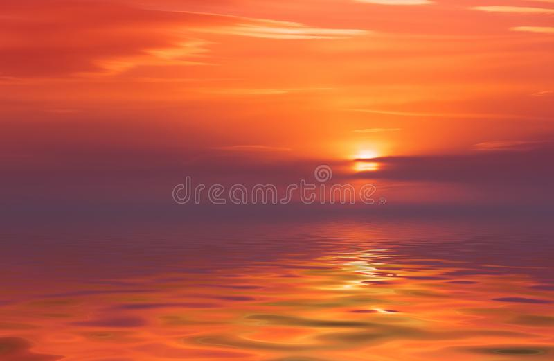 Beautiful bright sunset over calm sea.  stock photo