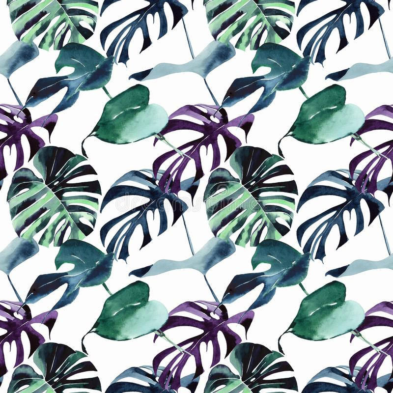 Beautiful bright tropical cute lovely wonderful hawaii floral herbal beach summer green blue violet pattern of a palms watercolor stock illustration