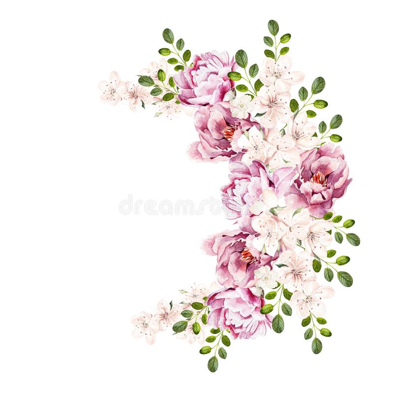 Beautiful bright watercolor bouquet wih peony flowers. stock photos