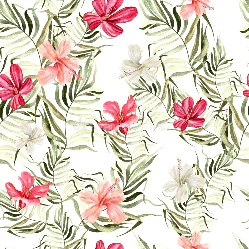 Beautiful bright watercolor pattern with flowers of hibiscus and tropical leaves. Illustration vector illustration