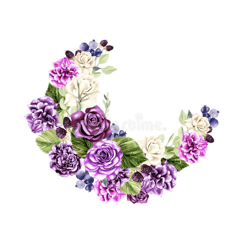 Beautiful, bright watercolor wreath with roses, peony, eucalyptus and berryes. stock photo
