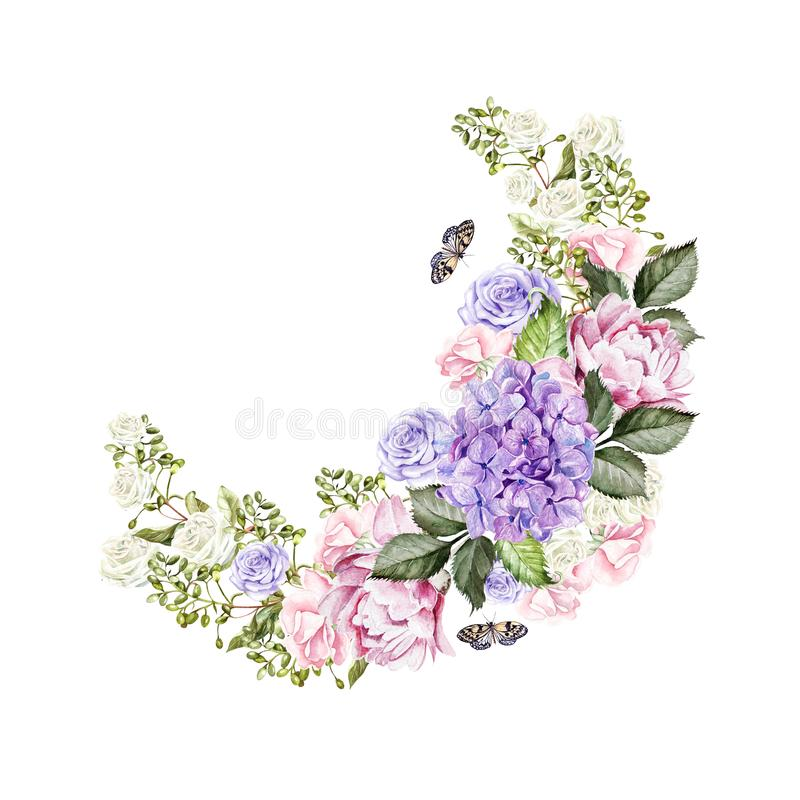 Beautiful, bright watercolor wreath with roses, peony, hudrangea and butterflies. royalty free illustration