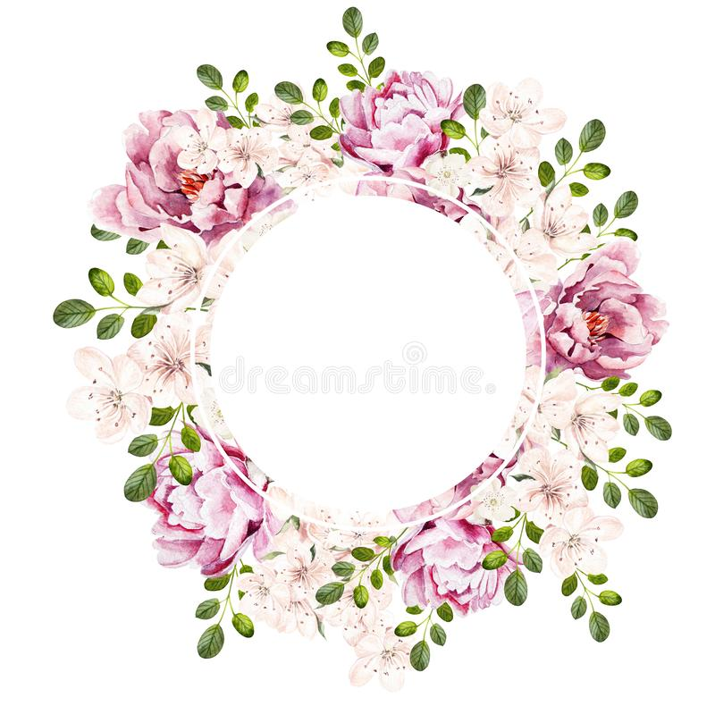 Beautiful bright watercolor wreath wih peony flowers. royalty free illustration