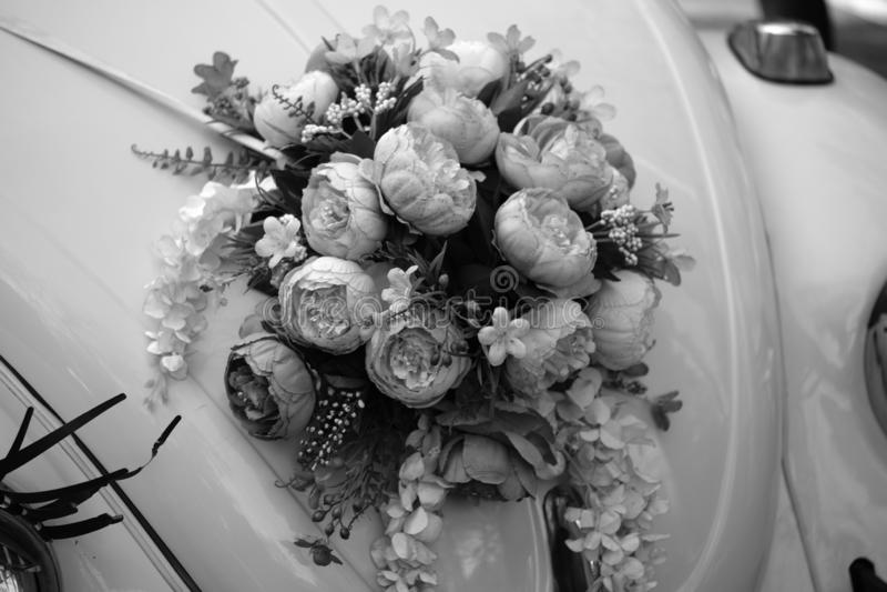Beautiful bright wedding bouquet of hydrangea royalty free stock photos