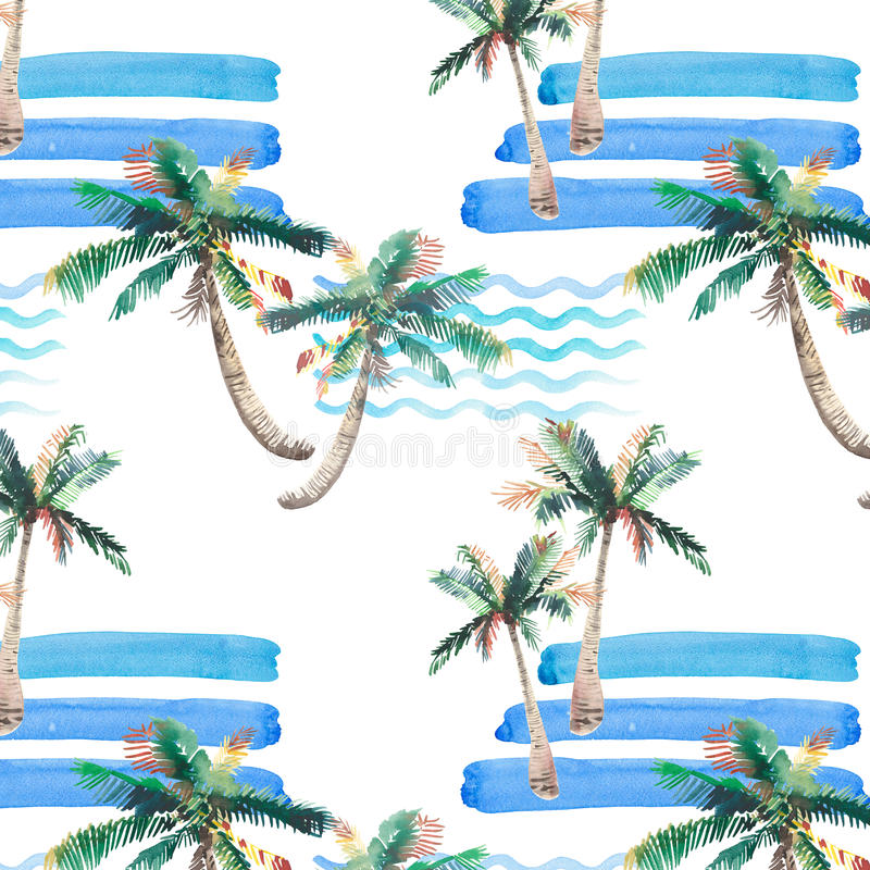 Beautiful bright wonderful abstract cute green tropical lovely wonderful hawaii floral herbal summer pattern of a palm trees and s. Ea waves watercolor hand royalty free illustration