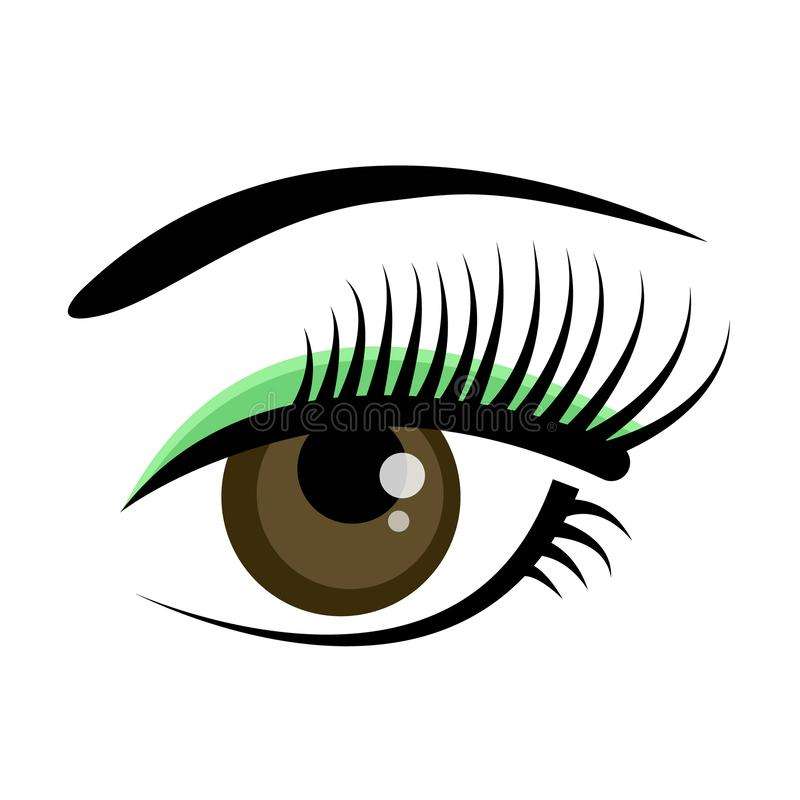 Beautiful brown female eye with eyelashes, eyebrows and green shadow isolated on white background. Flat style logo or royalty free illustration