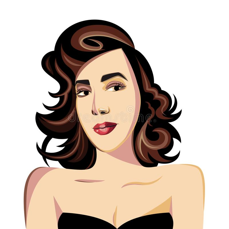 Beautiful brown-haired woman in a black dress royalty free stock images