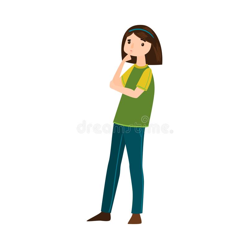 Beautiful brown-haired woman in blue pants thinking of something or making a decision. Vector illustration in flat. Beautiful brown-haired woman in blue pants vector illustration
