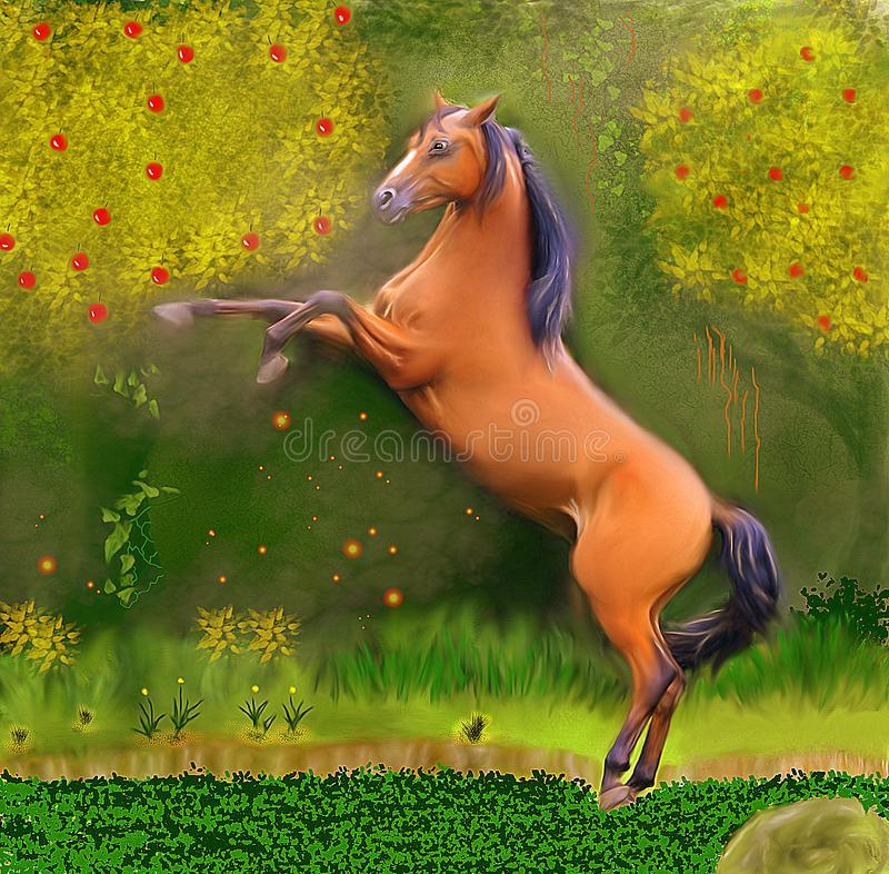 The Horse and the Enchanted Forest Accent light. A beautiful brown horse plowing in a magical forest full of life. At the same time an air of mystery hangs in stock illustration