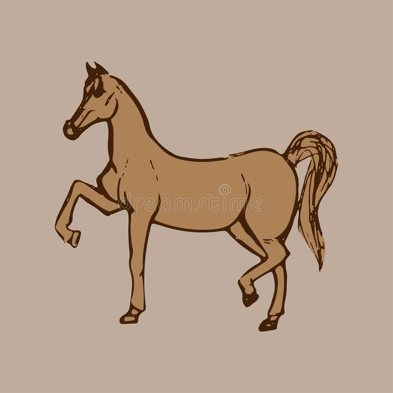 Beautiful Brown horse. Purebred red horse isolated on light background. Hand drawn. Flat vector illustration royalty free illustration