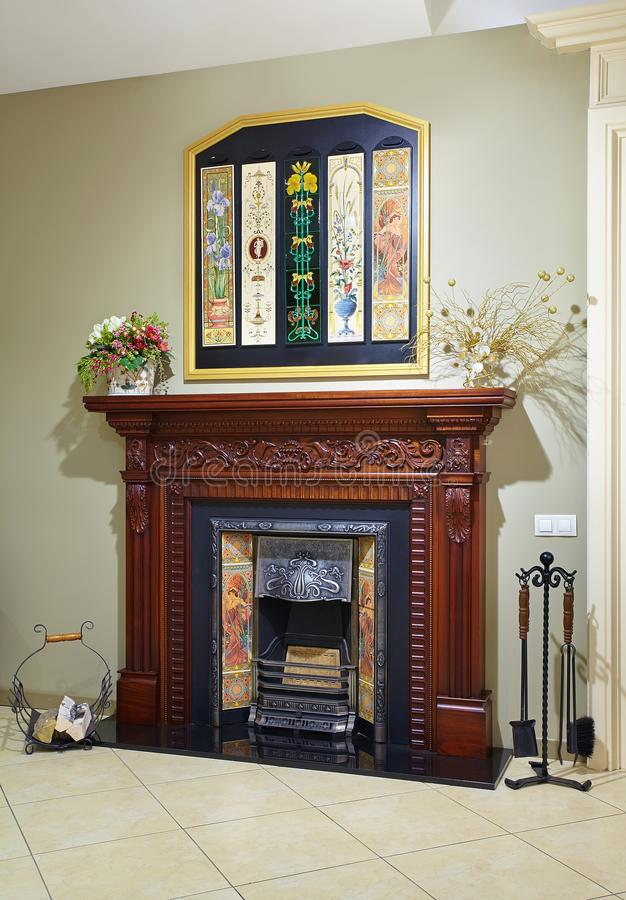 The classic modern fireplace in the showroom royalty free stock images