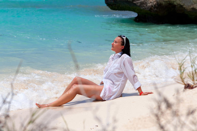 Download Beautiful Brunette On The Beach Stock Photo - Image: 20494502