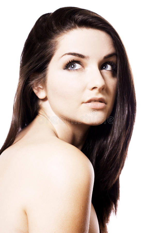 Beautiful brunette. Beauty shot. stock photo