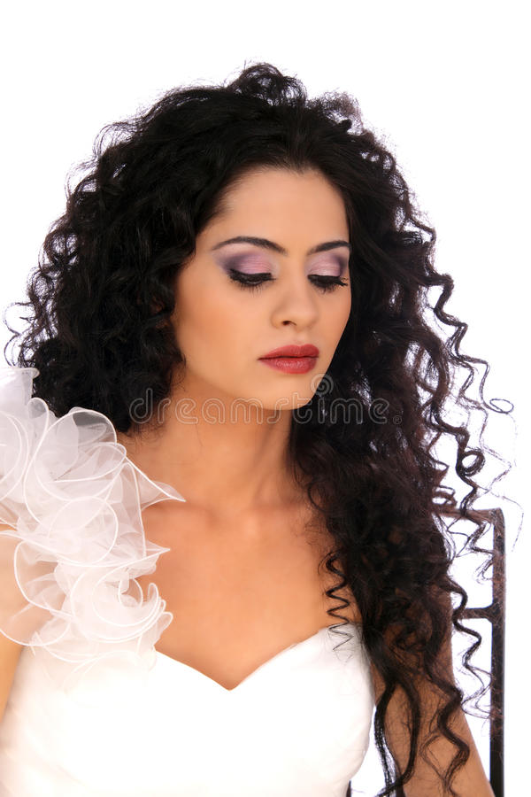 Beautiful Brunette Bride Girl With Long Healthy Wavy Hair