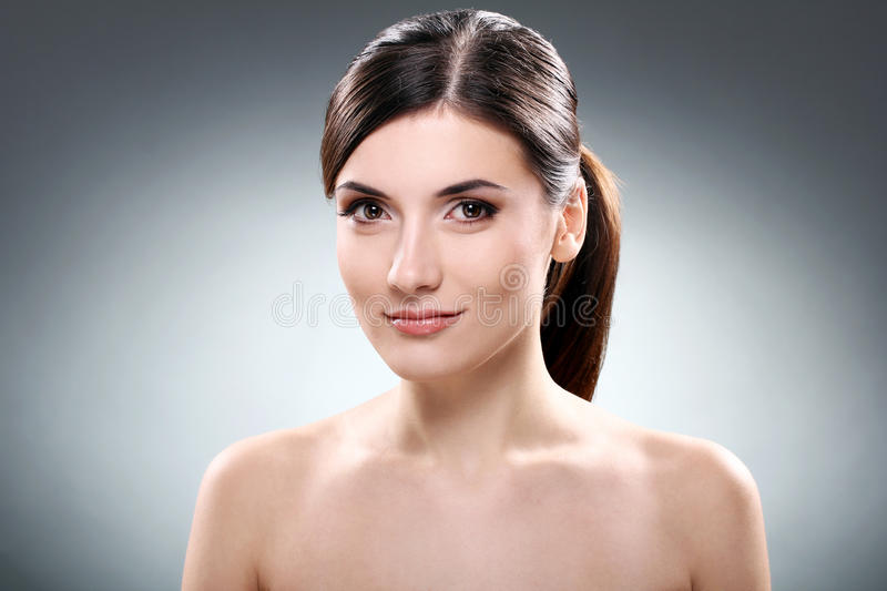 Download Beautiful Brunette With Clean Face Stock Image - Image: 22856929