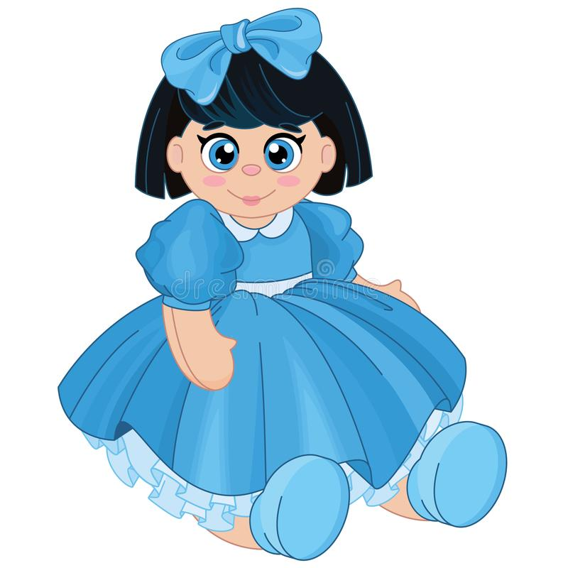 Beautiful cute brunette baby doll royalty free illustration